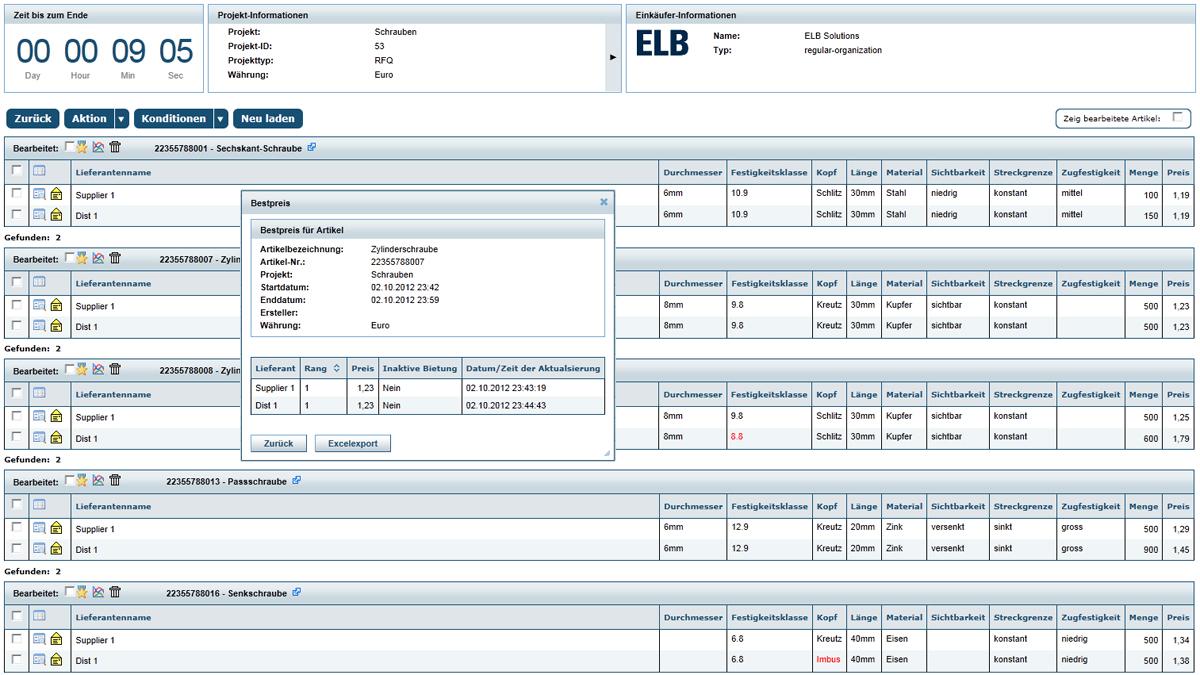 Illustration einer Schrauben RFQ - Dargestellt wird hier ein Screenshot für ein RFQ Projekt in dem div. Schrauben bei potentiellen Lieferanten angefragt werden. Darstellung im ELB Design.